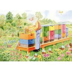 Ansichtkaart Lente bijenstal