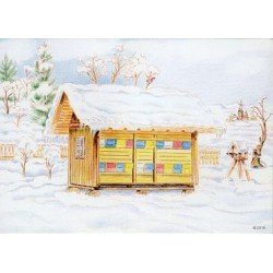 Ansichtkaart Winter bijenstal
